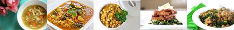 Chicken Noodle Soup, Kale Lentil Soup, Chana Masala, BBQ Tempeh, Tangy Tempeh Noodles
