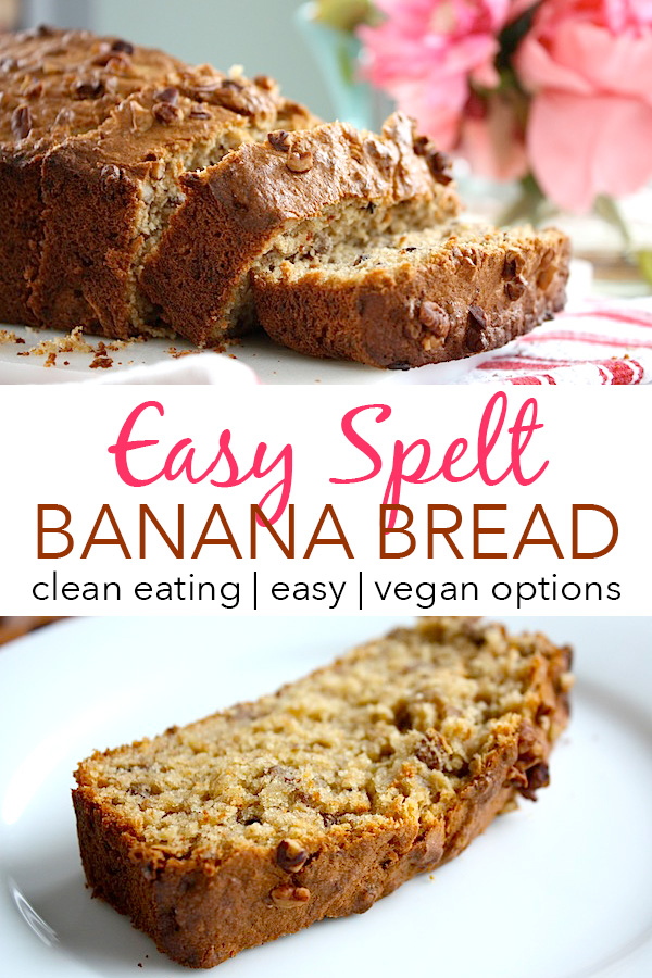 Spelt sounds weird, but it gets whole grains into your diet while still being delicious! Try this Easy Spelt Banana Bread for an intro to whole grain baking. A clean eating recipe with vegan options. #recipe #healthy #healthyrecipes #cleaneating #breakfast