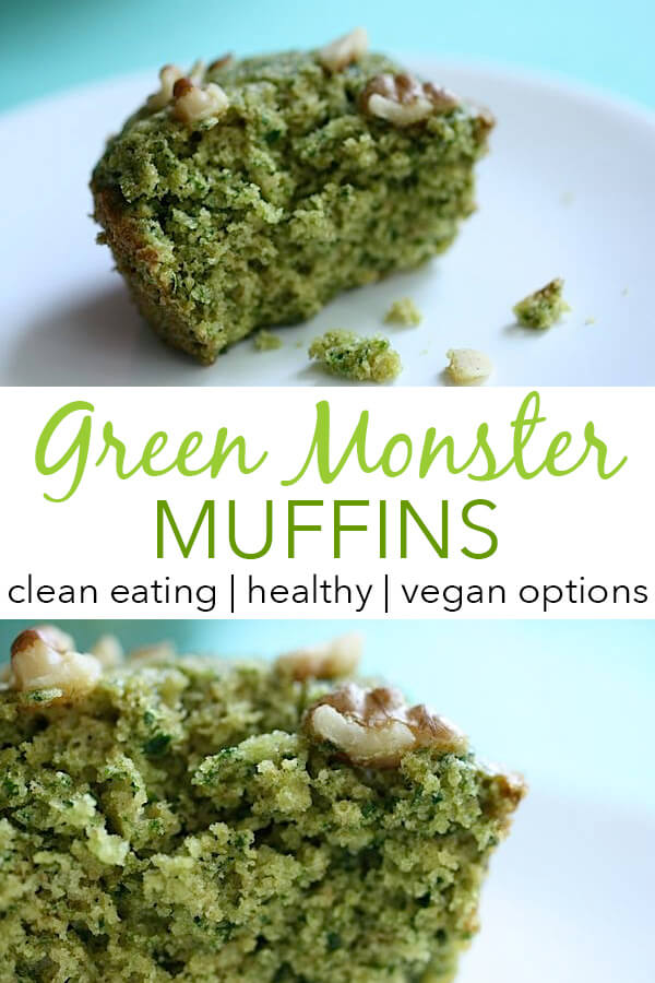 Like Green Smoothies? You'll love these easy Green Monster Muffins! This easy clean eating breakfast recipe sneaks vegetables into a delicious, sweet muffin that is naturally green thanks to hidden spinach. Fun for St. Patricks's Day or other holidays. #recipe #healthy #healthyrecipes #cleaneating #vegan #vegetarian #breakfast #breakfastfood