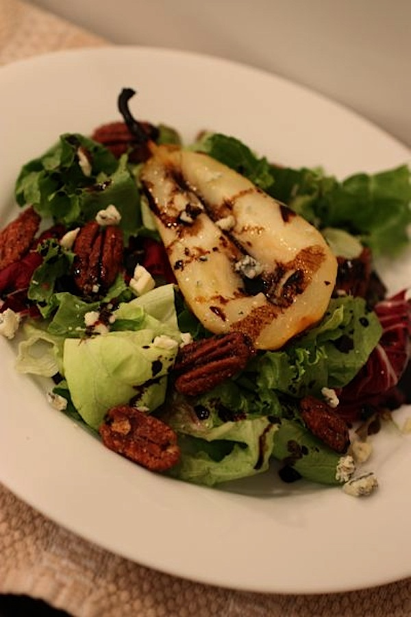 Roasted Pear Salad with Gorgonzola, Candied Pecans, & Balsamic Reduction