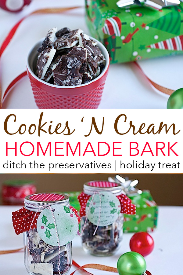 Ditch the preservatives and make your own homemade holiday treats with this Cookies 'N Cream Bark Recipe. Makes delicious Christmas and holiday gifts. Great dessert recipe. #recipe #cleaneating #recipe #vegetarian #holidayfood #dessert #homemadecandy