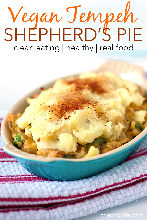 Healthy comfort food exists thanks to this delicious Vegan Tempeh Shepherd's Pie. This clean eating recipe is great for leftover mashed potatoes after the holidays. Easy and yummy lunch or dinner recipe. #recipe #healthy #healthyrecipes #healthyfood #cleaneating #recipe #realfood #vegan #veganrecipe