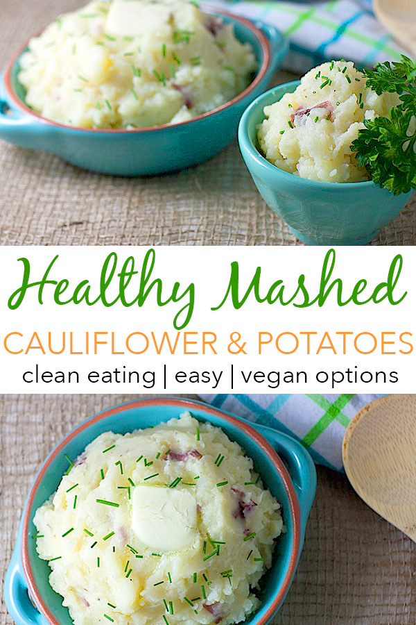 A healthy holiday side dish recipe that doesn't taste healthy! Yes, it's true! Sneak some veggies into this family favorite with Cauliflower Mashed Potatoes. Sure to be your new best clean eating recipe #recipe #healthy #healthyrecipes #healthyfood #cleaneating #realfood #vegan #veganrecipe #holidayfood