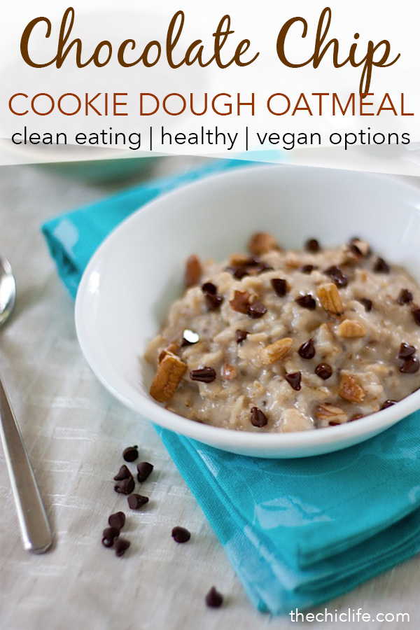 A clean eating breakfast idea that is much healthier than the name implies. Yes! Healthy Chocolate Chip Cookie Dough Oatmeal. This easy breakfast recipe adds a touch of fun to healthy food ideas Vegan options #recipe #healthy #healthyrecipes #cleaneating #recipe #realfood #vegan #vegetarian