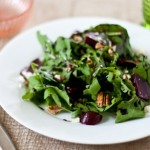 Arugula, Beet, Feta, Pecan Salad with Quick Balsamic Dressing