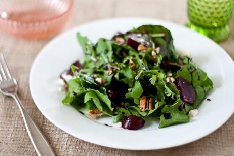 Arugula, Beet, Feta, Pecan Salad with Quick Balsamic Dressing