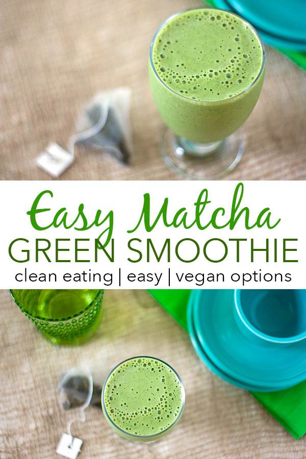 Give your green smoothie an extra energy boost with some matcha! This easy smoothie recipe adds antioxidants and other healthy benefits with clean eating ingredients. Great for breakfast or a snack. #recipe #healthy #healthyrecipes #cleaneating #breakfast #smoothies #vegan #veganrecipes