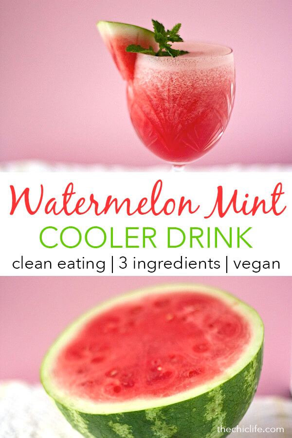 Summer in a cup! This refreshing Watermelon Mint Cooler is made with only 3 ingredients. It's clean eating, refined sugar free, and tastes great! So easy and delicious. #recipe #healthy #healthyrecipes #cleaneating #vegan #vegetarian #naturalwellness #summerrecipes #drink