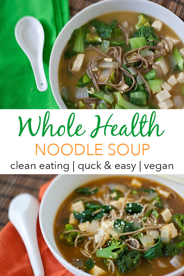 Fight colds and the flu with this immunity boosting Whole Health Noodle Soup recipe. I make this clean eating soup on the regular when the weather gets cold. It's a quick and easy weeknight dinner recipe.  #recipe #healthy #healthyrecipes #cleaneating #recipe #realfood #vegan #veganrecipe