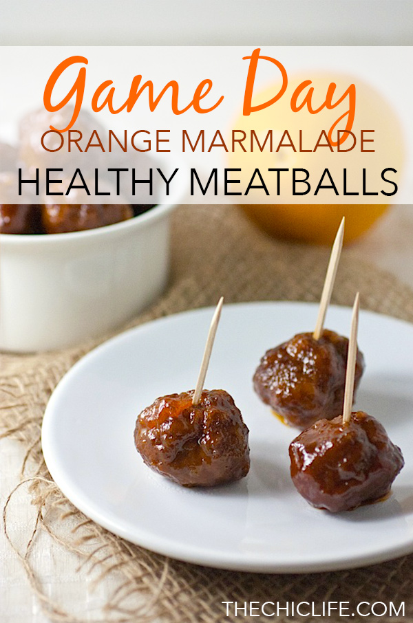 Game day can be delicious and healthy! Try this Slow Cooker Orange Marmalade Meatballs recipe for your next Super Bowl or other sports party. It's an easy clean eating recipe that is a winner! #recipe #healthy #healthyrecipes #healthyfood #cleaneating food #potluck #appetizer #gamedayfood