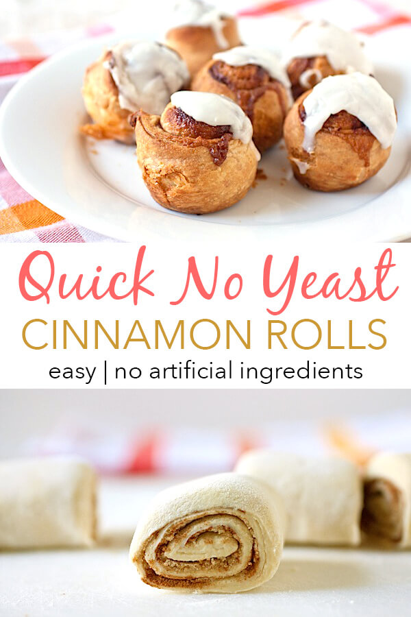 Need cinnamon rolls FAST? Make these Quick Cinnamon Rolls - without yeast! Skip the artificial ingredients in the packaged stuff and make this version (mostly) clean eating and from scratch! #recipe #cleaneating #vegetarian #desserts #dessertrecipes