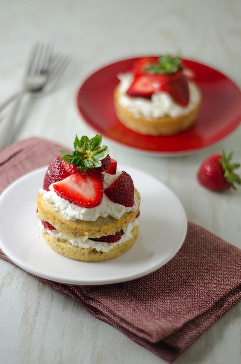 Strawberries 'N Cream / Fourth of July Cake Minis {Recipe}