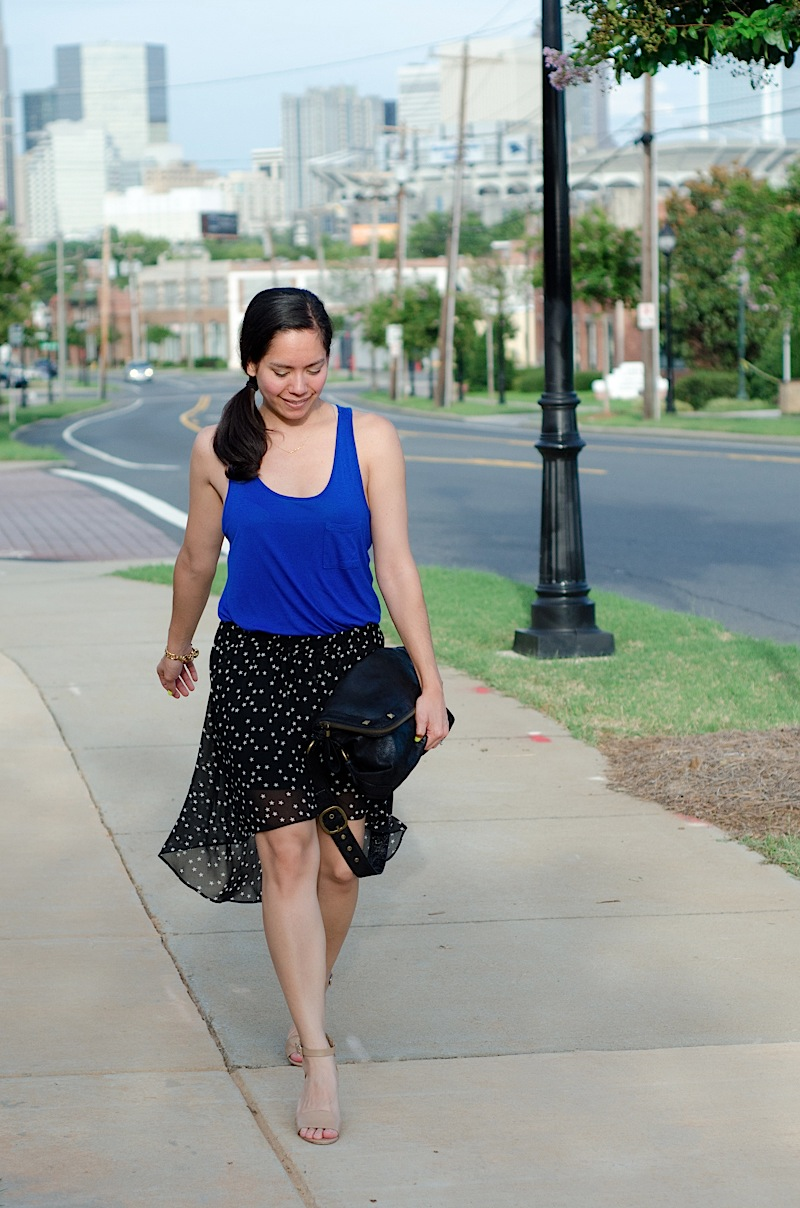 High-Low Star Skirt {Outfit} & Eats at Pinky's