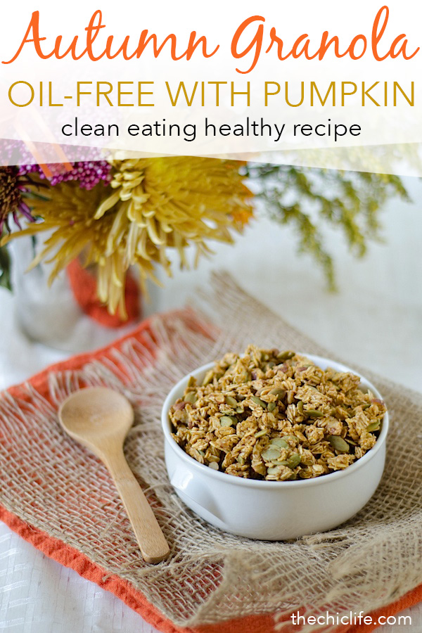 Can't believe this delicious granola is made without oil! You won't even miss it. Try this Autumn Granola recipe for a healthy breakfast or snack this fall season. Super easy clean eating recipe that smells like cinnamon-spiced goodness. Yum! Vegetarian and vegan. #fallfood #fall #fallrecipe #recipe #healthy #healthyrecipes #healthyfood #cleaneating