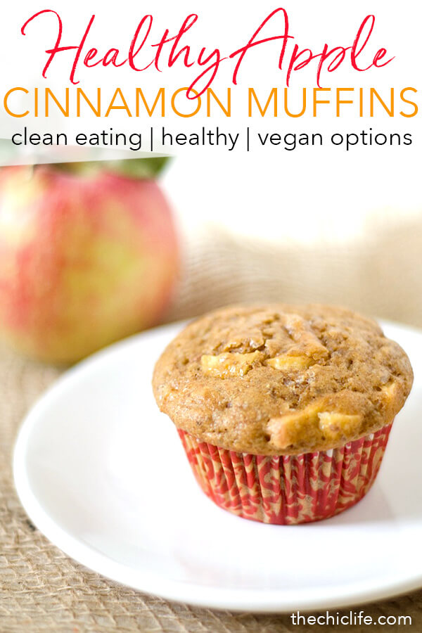 This will make your home smell AMAZING! These Healthy Cinnamon Apple Muffins are so EASY and DELICIOUS! This clean eating breakfast recipe uses regular pantry ingredients for a healthy breakfast idea. #recipe #healthy #healthyrecipes #cleaneating #vegan #vegetarian #muffins #applerecipes #apples
