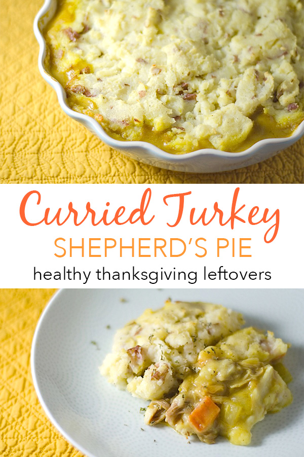 Transform your Thanksgiving leftovers into this delicious and Healthy Curried Turkey Shepherd's Pie. A couple simple ingredients take your leftover turkey to the next level in this tasty clean eating recipe. #fallfood #fallrecipe #recipe #healthy #healthyrecipes #healthyfood #cleaneating #recipe #realfood #thanksgivingleftovers