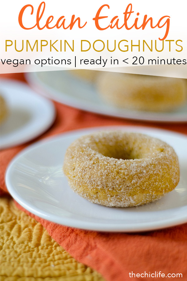 It's easy to eat clean this fall season with this delicious Healthier Baked Pumpkin Doughnuts recipe. This recipe comes together so easily, and I've made it so many times, I can practically make it from memory. You'll love the cinnamon-spiced goodness from this easy donut recipe. Great for a regular autumn day or holiday. Vegan options. Good use of leftover canned pumpkin. #recipe #doughnutrecipe #healthyrecipe #cleaneating #holidayrecipe