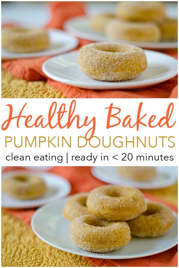 So good, bet you can't eat just one! This Healthier Baked Pumpkin Doughnuts Recipe is a great clean eating recipe if you're looking for delicious fall recipes for you or your family. Made with real pumpkin, this easy recipe whips up in less than 20 minutes. Great for a holiday or Thanksgiving themed potluck or party. Good use of canned pumpkin. #recipe #doughnutrecipe #healthyrecipe #cleaneating #holidayrecipe