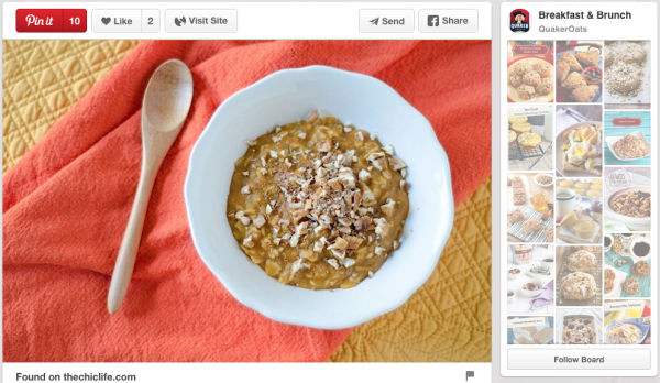 Quaker Oats pinned my Healthy Pumpkin Pie Oatmeal Recipe!