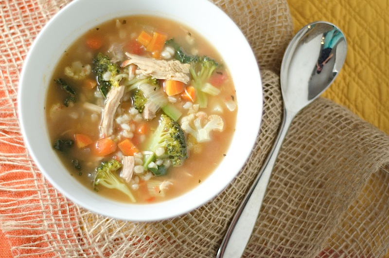 Turkey, Veggie Tray, & Barley Soup {Thanksgiving Leftover Recipe}