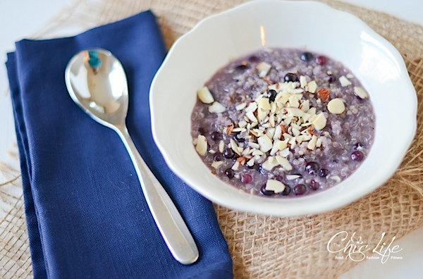 Hot Blueberry Honey Breakfast Quinoa Recipe