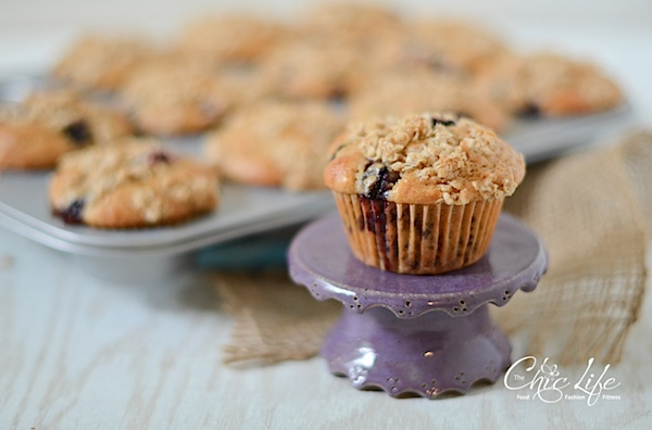 This Healthier Blueberry Streusel Muffins Recipe is so easy and delicious. Clean eating muffins are super easy with this healthy muffin recipe and lightened streusel topping. Use fresh or frozen blueberries. #recipe #healthy #healthyrecipes #cleaneating #vegan #vegetarian #muffins #blueberriesrecipe