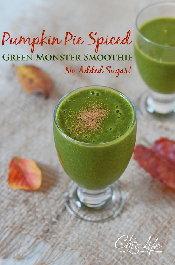 Give your green smoothie a fall makeover with this delicious healthy fall recipe. You'll LOVE this Pumpkin Pie Spiced Green Smoothie recipe. It's vegetarian with vegan options. Great use of leftover canned pumpkin. #fallfood #fall #fallrecipe #recipe #healthy #healthyrecipes #healthyfood #cleaneating #breakfastrecipe #realfood #vegan #veganrecipe