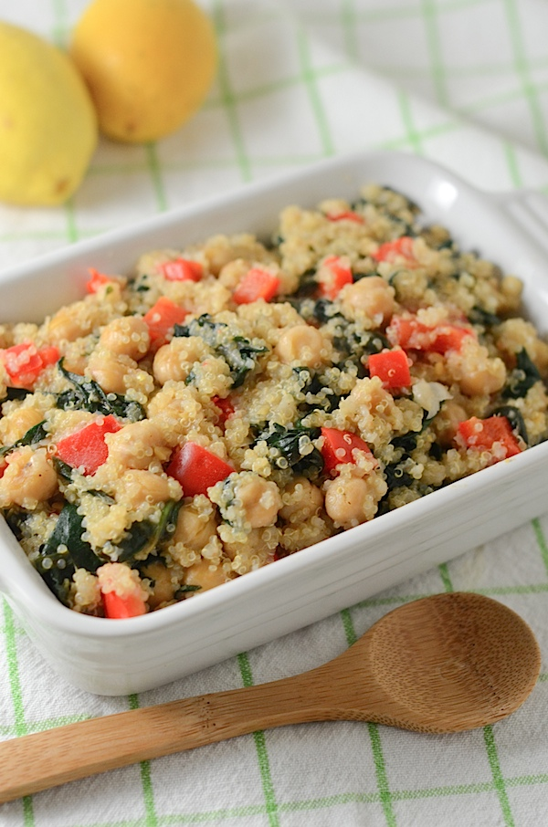Warm Lemon Quinoa Salad Recipe: A healthy side dish or vegetarian/vegan entree for your next dinner party or potluck #cleaneating #recipe #healthyfood #vegan #vegetarian
