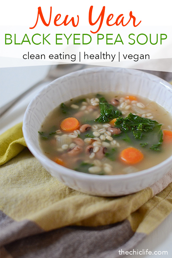 Skip boring black eyed peas and make this delicious Barley Black Eyed Pea Soup for New Year's Day and keep that luck going all year long! This clean eating recipe is a great vegetarian or vegan lunch or dinner recipe #recipe #healthy #healthyrecipes #cleaneating #realfood #vegan #vegetarian