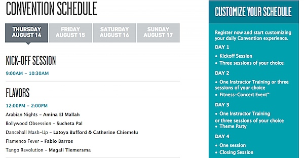 Zumba Convention 2014 Schedule