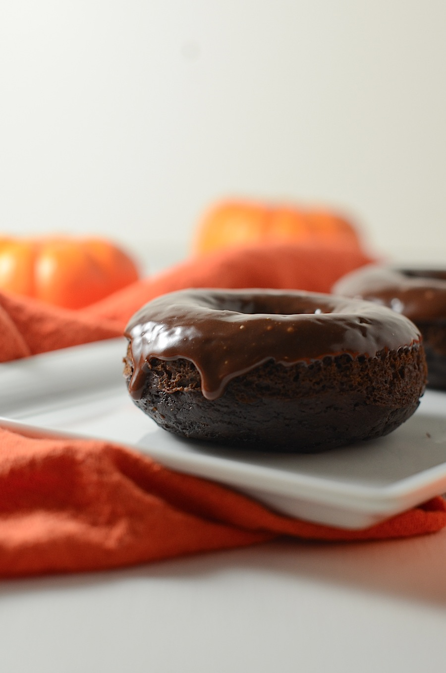 Healthier Chocolate Pumpkin Doughnuts Recipe with Chocolate Glaze