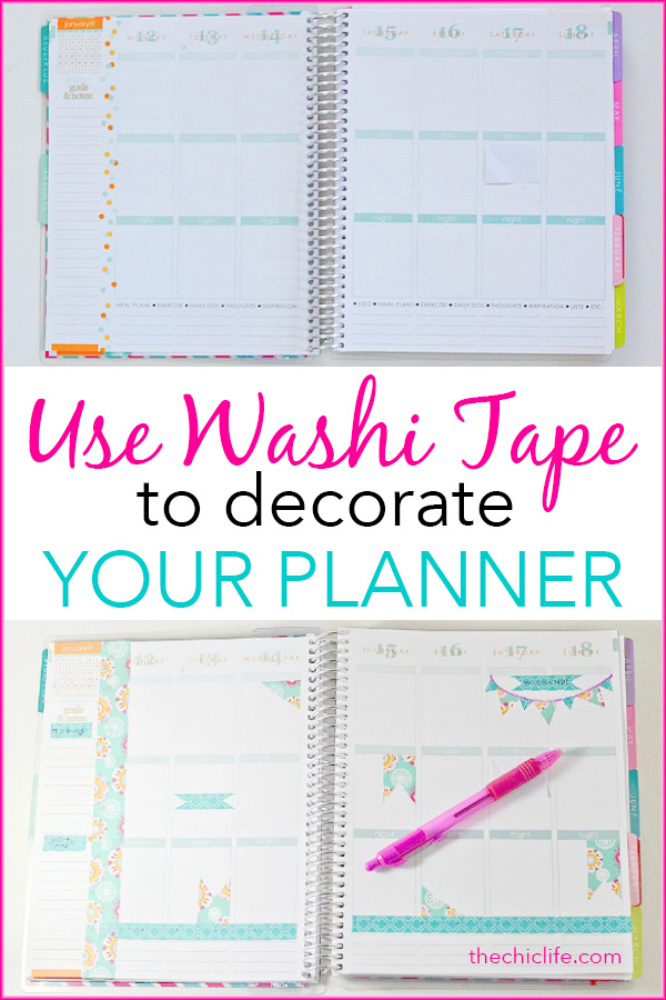Click for a tutorial (with video) 6 easy ways on how to use washi tape in your planner. These DIY ideas will help you decorate and organize your planner, whether it's an Erin Condren, Happy Planner, ban.do, or other paper planner. Using washi tape is an affordable way to add personality to your planner and layouts. Great for beginners. #planner #planning #erincondren #washitape #plannerideas