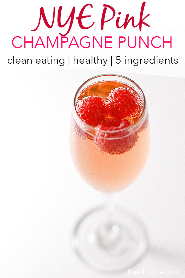Skip overly-sweetened, ice-cream-laden, conventional punch recipes and make this chic Pink Champagne Punch for your NYE celebration this year. This fun and easy New Year's Eve celebration punch makes for the perfect clean eating, healthy holiday drink recipe. #recipe #healthy #healthyrecipes #cleaneating #vegan