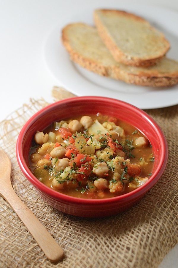 Spiced Cauliflower and Chickpea Soup Recipe