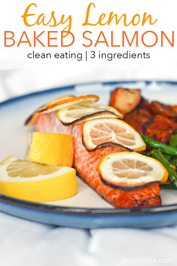 Easy weeknight meal idea! This Lemon Baked Salmon Recipe is so delicious and it takes so little effort to make. And only needs 3 ingredients! Healthy fast. Yum! #recipe #healthy #healthyrecipes #healthyfood #cleaneating #dinner #dinnerrecipes #salmon