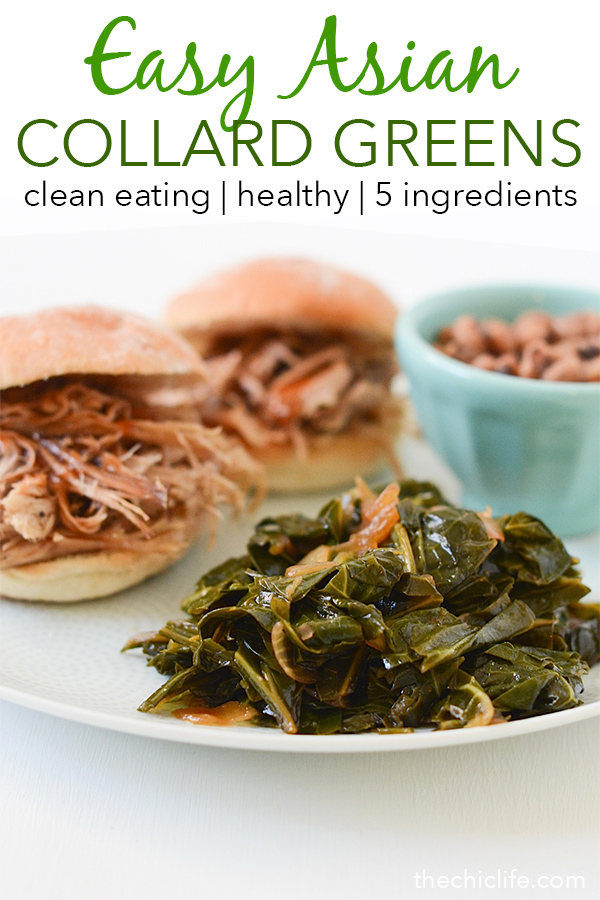 Try a new twist on collard greens for your good-luck New Year's Day lunch or dinner - Asian Collard Greens is a fun and easy clean eating recipe to get your year started on a delicious note. Try this healthy holiday recipe this year. #healthy #healthyrecipes #cleaneating #vegan