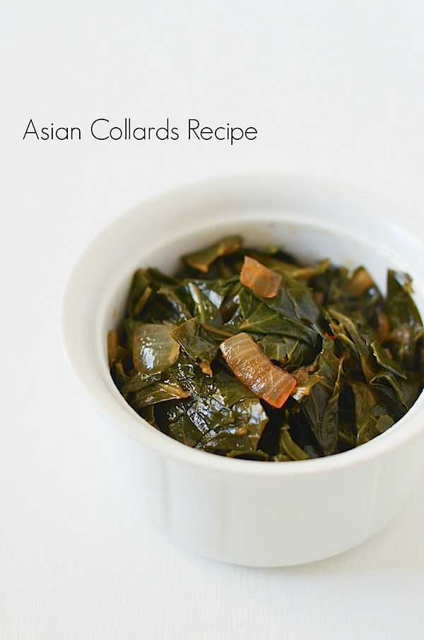 Easy Asian Collards could make a nice green side dish / vegetable for St. Patrick's Day for food ideas #healthyrecipe #cleaneating