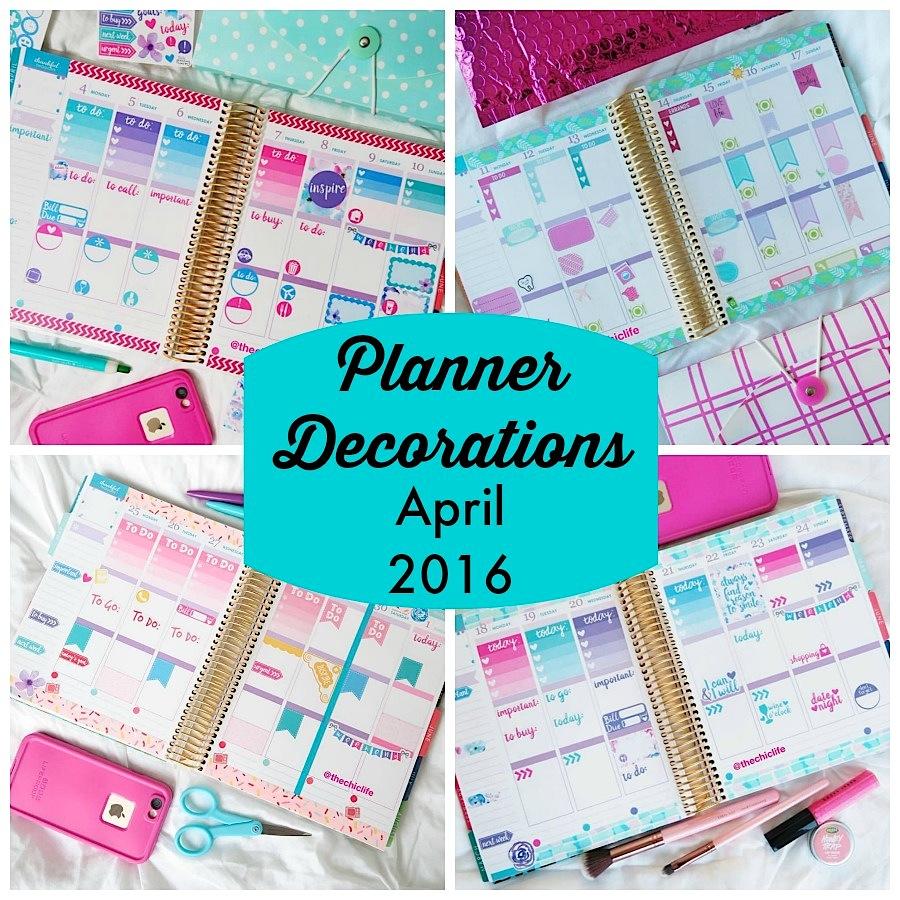 Planner Decorations April 2016 Erin Condren Vertical