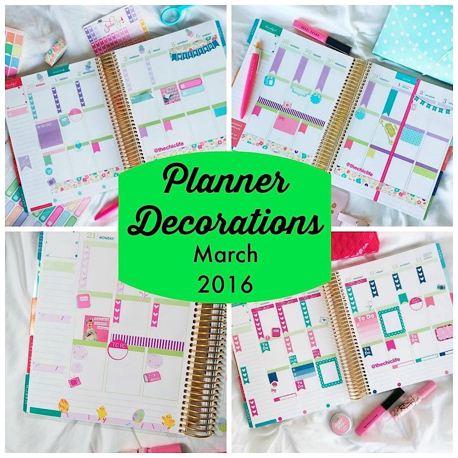 Planner Decorations March 2016 Erin Condren Vertical