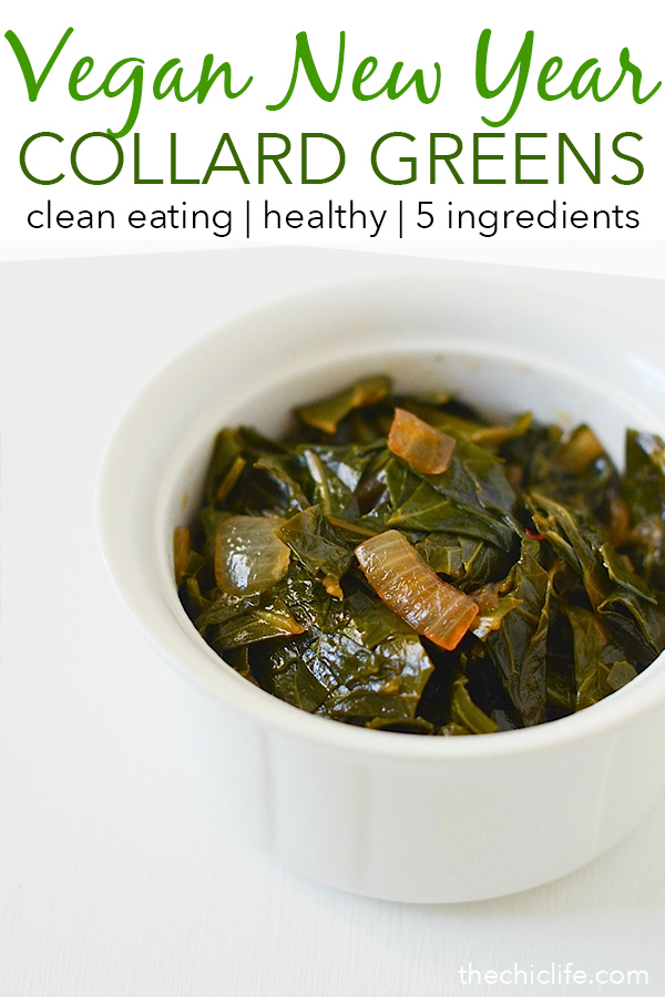 Looking for a collard greens recipe made *without* ham? Try this easy vegan recipe. This Asian Collard Greens recipe is delicious and simple. You won't even miss the meat in this healthy holiday recipe - perfect for New Year's Day! #healthy #healthyrecipes #cleaneating #vegan