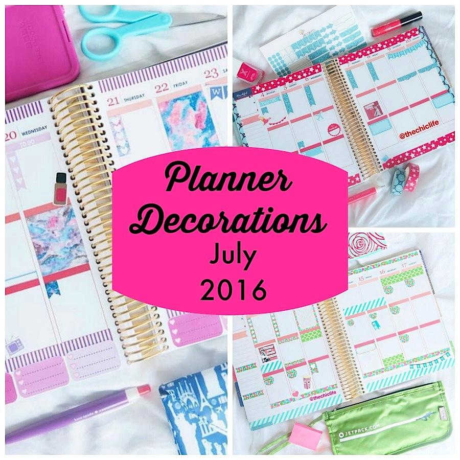 Planner Decorations July 2016 Erin Condren Vertical