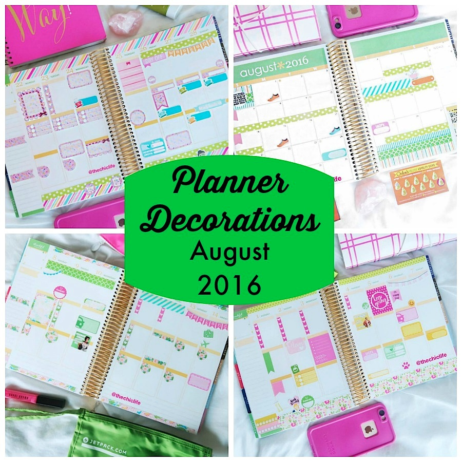 Planner Decorations August 2016 (Erin Condren Vertical)