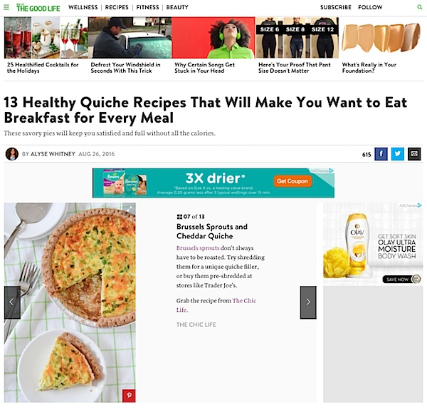 Dr. Oz The Good Life Feature: Healthy Quiche