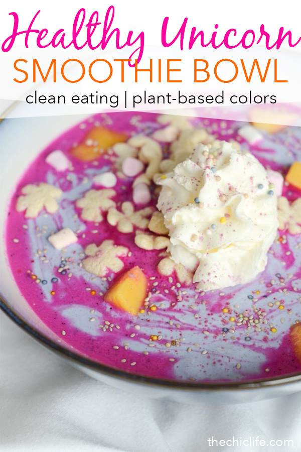 Can you believe this hot pink color is 100% natural and plant-based? Yes! Make this healthy Unicorn Smoothie Bowl recipe for a beautiful breakfast (or snack or dessert!) that tastes as good as it looks. A clean eating recipe with vegan options. #recipe #healthy #healthyrecipes #cleaneating #breakfast
