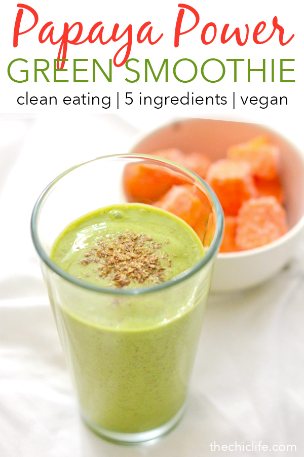 Boost your day with this delicious Papaya Power Green Smoothie recipe. This clean eating treat is an easy breakfast recipe you can also enjoy as a pick-me-up snack. #recipe #healthy #healthyrecipes #cleaneating #breakfast #smoothies #vegan #veganrecipes