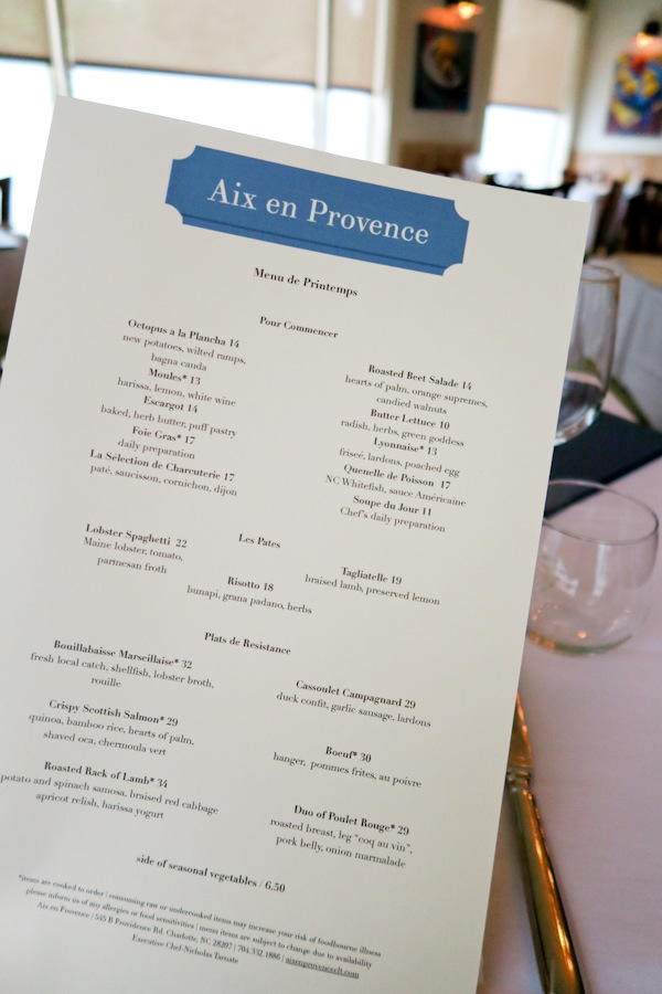 Dinner at Aix en Provence Charlotte NC