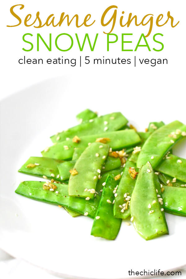 Need a quick vegetable to go with dinner? This is such an easy and flavorful way to cook snow peas, and it only takes 5 minutes! You'll love the zesty ginger paired with the crisp tender snow peas. #recipe #healthy #healthyrecipes #healthyfood #cleaneating #realfood #vegan #veganrecipe #vegetarian #easyrecipe