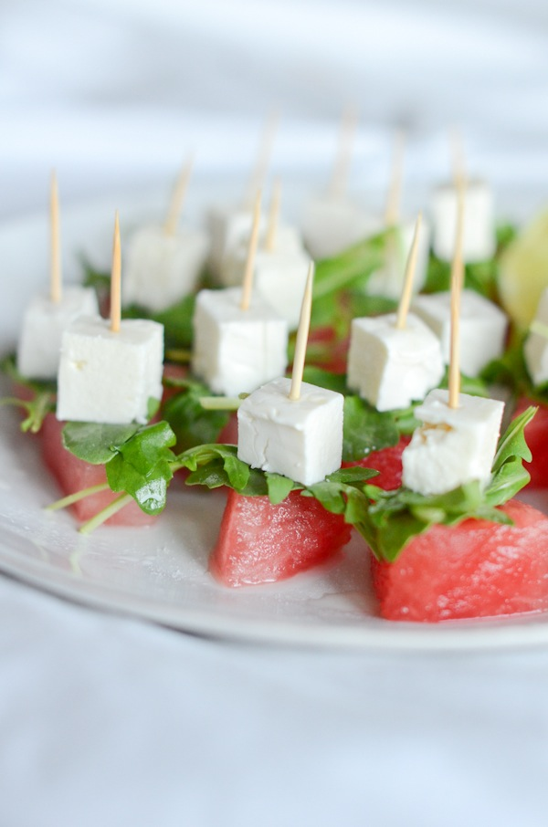Watermelon Arugula Salad Bites Recipe | Healthy Appetizer