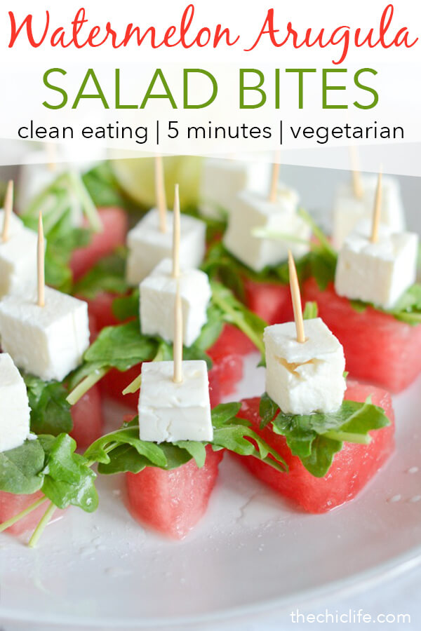 The perfect summer appetizer or snack! These cute Watermelon Arugula Salad bites are SO refreshing and delicious. And they're easy to assemble. Great for entertaining - parties and potlucks! #recipe #healthy #healthyrecipes #healthyfood #cleaneating #vegetarian #healthyfoodideas