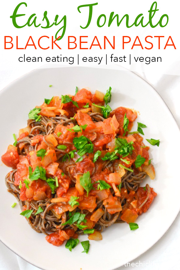 Need dinner but haven't been to the grocery store? You can make this delicious healthy pasta recipe with common pantry ingredients. Try this Black Bean Pasta with Easy Tomato Sauce. Bonus: It's ready fast! #recipe #healthy #healthyrecipes #healthyfood #cleaneating #dinner #dinnerrecipes #vegan #vegetarian